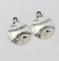 baseball diy - MIC Antique Silver Baseball Sports Charms Pendants Jewelry DIY L286 x18 mm Jewelry Findings Components