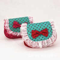 Wholesale 2015 Girls Fashion bags Korea style cute red heart big bow dots lace bag Bead Chain Purse Card Changes Bags MOQ free ship SVS0170