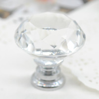 Wholesale Cabinet Knobs and Handles mm Diamond Crystal Glass Door Drawer Cabinet Furniture Handle Knob Screw F60JJ0264W M1