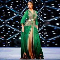 Cheap 2015 Muslim Elegance Green Embroidery Kaftan Dubai Long Sleeve Evening Dresses Prom Ruffle Dress Abaya Islamic Indian Gown