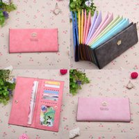 Wholesale DHL Portable Long Crown Ultra Thin Scrub PU Leather Wallet Pouch Purse Card Package Card Holder Bump Color Mix Color Lady Wallet E353