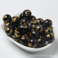 Wholesale diy handmade jewelry accessories material natural black onyx mantra Om Mani Padme Hung gold foil beads