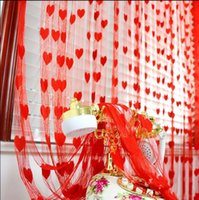 Wholesale Love Heart Strip Rod Pocket Window String Curtains Door Curtain Window Tassel String Room Curtain