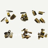Cheap Free Shipping Antiqued Style Alloy 2~6mm Foldover Cord End For Leather Double Caps Crimps Beads Tips