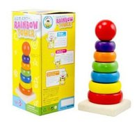 Wholesale Kids Baby Toy Wooden Stacking Ring Tower Educational Toys Rainbow Stack Up Play Set Nesting Ring Learning Education