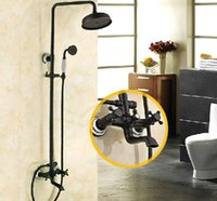 Wholesale New Arrival quot Oil Rubbed Bronze quot Brass Shower Head Dual Handle Shower Set Faucet