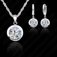 aqua coating - Women s Crystal Jewelry Set Sterling Silver White Gold Coating Fashion Party Swiss Rhinestone Necklace Earrings For Wedding
