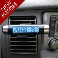Square auto glass outlet - Suction cup outlet transparent lcd car electronic thermometer clock vehienlar time clock and watch auto supplies