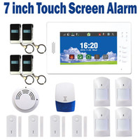 Wholesale Wireless GSM Alarm System Smart Alarm Home Security alarm IOS and Android APP controlled with LCD touch Screen