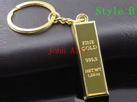 Wholesale Gold bar keychain originality Car Key Chain key Rings Keychain Keyring businss gift