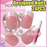 Wholesale 24pcs set pink Acrylic Nail Art Nail Tips Glue C219