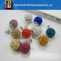 ball dust - Luxury Bling Crystal Diamond mm Dia Ball Shape Dust proof mm Ear Hole Earphone Cap Stopper Plug for iPhone Samsung