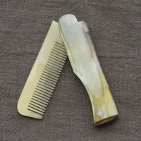 Wholesale 10pcs New Beauty Hair Hairbrush Natural Handmade Ox Horn Comb With Handle Mini Folding Yak Horn Comb Women Birthday Makeup Gift