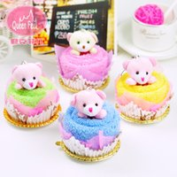 towel cake favors - Bear cake towel Creative wedding favor Festival gifts Promotion gifts Lucky Draw Prizes Birthday party supplies T001