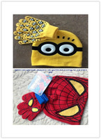 Wholesale Spider Man Minion wool hats crochet pattern new Despicable me Children cartoon winter knitted caps gloves set kids christmas gift