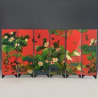 Wholesale cheap Beautiful Chinese Lacquer Handwork Old Crane Lotus Painting Screen Decor