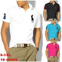 solid shirts - 2015 Big horse polo men solid polo shirt Casual short sleeve Shirts plus size high quality