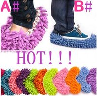 Wholesale 50 Pairs Dust Chenille Microfiber Mop Slipper House Cleaner Lazy Floor Cleaning Foot Shoe Cover by DHL