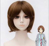 Wholesale 30CM Gold Brown High Temperature Wire Cosplay Wig Your Lie in April Character Sawabe Tsubaki Cosplay wigs