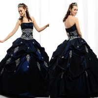 Cheap 2015 Navy Blue Stain Quinceanera Dresses Strapless Draped Cascading Ruffles Appliqued Crystal Ball Gowns Stunning 15 Teens Pageant DressMG03
