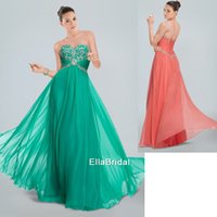 Cheap Beaded A-Line Peacock green Coral Chiffon Prom Dresses Sweetheart Sleeveless Formal Gowns Dresses High Quality 321426