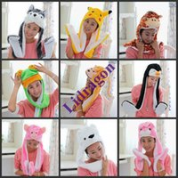 Wholesale LADIES KIDS TEENS LONG ANIMAL HAT HOOD SCARF POCKET SOFT FLEECE LINED SNOOD
