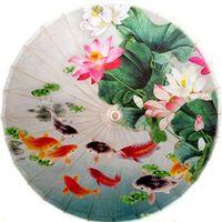 automatic lotus - fish and lotus oiled paper umbrella dia cm chinese handmade waterproof sunshade dance decoration umbrella