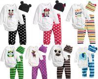 Wholesale 3 clothing set long sleeved rompers hat pants cartoon animal newborn infant romper toddler boy girls stripes pants set Minnie mouse