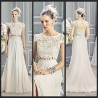 two piece wedding dress - 2015 New Two Pieces Summer Wedding Dresses Chiffon Lace Tank With Sleeves Keyhole Back A Line Wedding Dress Beach Wedding Dresses FX03