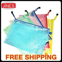 Wholesale 10 Gridding Waterproof Zip Bag Document Pen Filing Supplies Pocket Folder Material Escolar