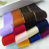 Wholesale velvet ribbon inch mm width yds roll many colors Pink Red Blue Purple Yellow White Black Brown Grey