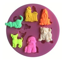 Wholesale Lion Tiger Bear Dog Shape Fondant D Molds Silicone Mold Soap Candle Molds Sugar Craft Tools Chocolate Moulds Bake Ware mold fondant