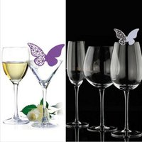 wedding and baby favors - 50pcs Butterfly Paper Name Table Place Escort Card Cup Wine Glass Card for Wedding Par Birthday Xmas Baby Shower Party Decorations Favors