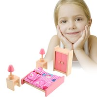 Wholesale Brand Baby Wooden Doll Bathroom Furniture Bedroom bed Doll house Miniature For Kids Child Play Toy