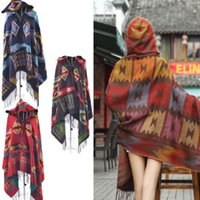Wholesale New FashionWomen Bohemian Collar Plaid Cape Cloak Poncho Jacket Coat Wool Blend Shawl Scarf