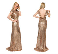 Wholesale 2017 Champagne Mermaid Bridesmaid Dresses Crew Neck Cap Sleeves Sequins Sweep Train Backless Rose Gold Wedding Guest Dresses