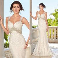 beach kitty - Shinning Full Lace Wedding Dresses Spaghetti Neckline Sleeveless Wedding Gowns Kitty Chen Mermaid Bridal Gown