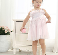 basic performance - 2016 European Girls Dresses Sleeveless Lace Solid Basic Cotton Student Performance Dress Princess Children Cloth Beige Pink K5907