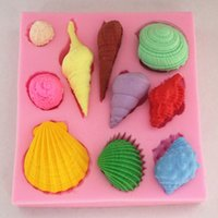 Wholesale Beautiful Sea Shell And Conch Shape Silicone D Mold Cookware Dining Bar Non Stick Cake Decorating Fondant Soap Mold