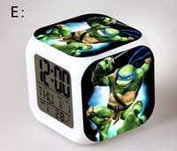 alarm clock for kids room - Novelty Christmas Gifts Teenage Mutant Ninja Turtles LED Colorful Change Digital Alarm Clock Night Light For Kids Room Decorations New Hot