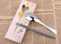 Wholesale sets fish tail stainless steel spoon and chopstick set with pink box for Wedding Party Door Gifts