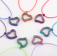 Cheap New Mixed Multicolor Lockets Heart Shape Crystal Floating Charm Glass Living Memory Locket Pendant 25mm Extra Charms Necklace For Gift