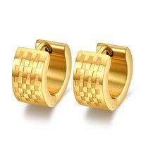 Wholesale fashion K gold filled hoop earrings stainless steel punk biker men jewelry