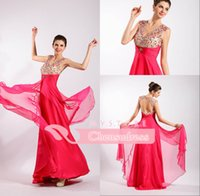 Wholesale 2015 Charming Evening Gown V Neck Sheer Backless Crystals Pleats Beaded Cap Sleeves Gorgeous Chiffon Floor Length Empire Prom Dresses