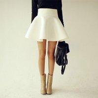 skater skirt - 2014 Summer Autumn Big Plus Size Women White Vintage Ladies Saia High Waist Flared Puff Skirt Mini Skater Ball Skirts