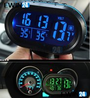 Wholesale Hot Selling Multi functional V V Digital Car Auto Truck Clock Voltage Temperature Thermometer Alarm Monitor