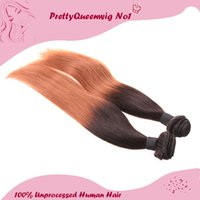two tone hair extensions - Indian Hair Two Tone B Ombre Color Straight Human Hair A Pack of Two Hair Wefts Hair Extensions Unprocessed Remy Virgin Hair A