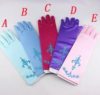 Wholesale elsa gloves child accessories princess gloves printing Gloves Cosplay Gloves Girls Long Gloves Elsa in stock