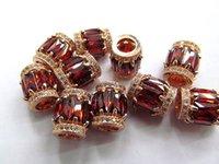 Wholesale AAA grade x14mm metal spacer cubic zirconia crystal rice drum column champagne KT gold red connetor bead