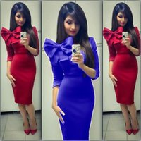 Wholesale 2015 New Fashion Sexy Women and Big Girls Big Bow Dress Europe Style Package Hip Dress Women Casual Party Dresses B